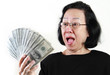 Asian lady holding a bunch of hundred dollar bills
