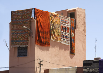 Carpets Hanging in the Medina Marrakech Morrocco