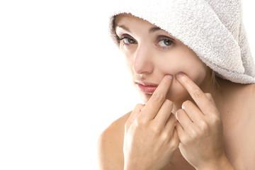 Pimple , spot on beauty woman face