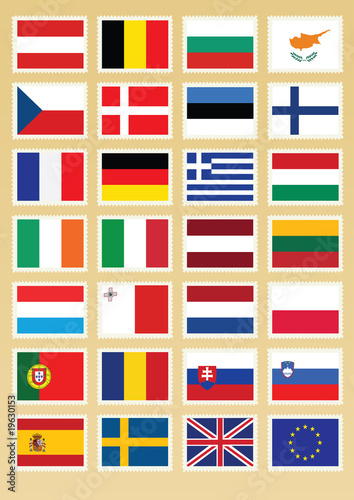 Vector Flags set of Europe union on postage stamp