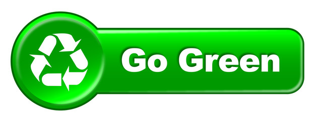 """GO GREEN"" web button (recycling eco environment symbol)"