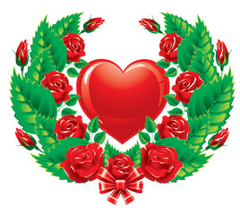 The wreath of roses. Valentine's Day.