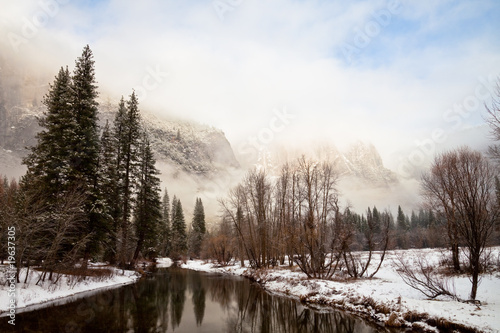 Yosemite Landscape with Low Lying Clouds