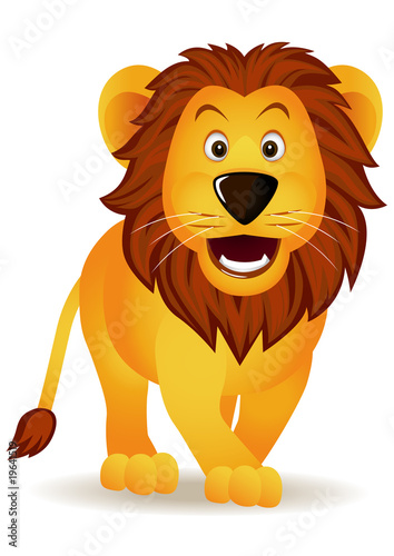 Tuinposter Zoo Funny lion isolated