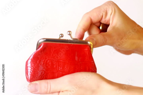 Hand insert coin in the purse