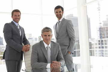 Mature businessman with his team
