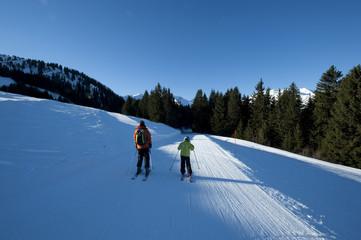 Famille au ski, Areches, Savoie, France