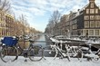 Amsterdam in the Netherlands covered with snow