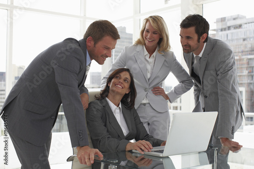 Attractive boss with her team