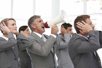 Man screaming through loudspeaker