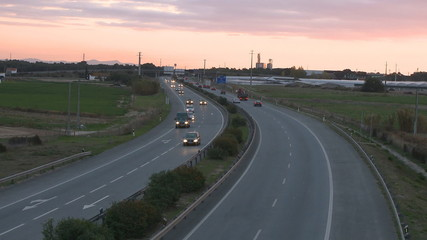 Highway at sunset Time lapse