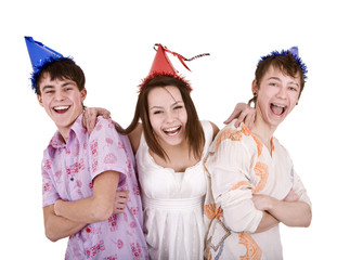 Happy birthday group of young people in party hat.