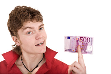 Happy  man in red  with money euro. Isolated.