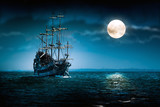 Fototapety Old pirate ship Flying Dutchman sailing to the moon