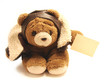 teddy bear courier with a business card