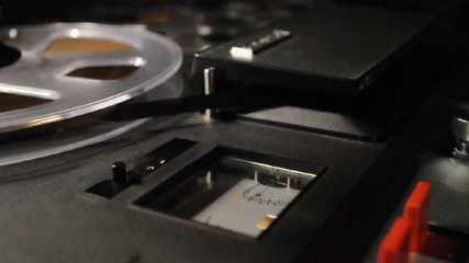 vintage reel-to-reel recorder, vu meter