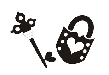 black key and lock with heart shapes on a white background
