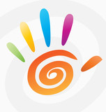 Fototapety Abstract vector colored spiral hand with fingers.