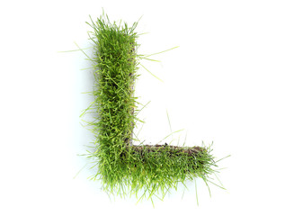 Letters made of grass - L