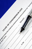 Lease of condominium unit isolated on blue poster