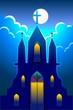 Illustration of a church in moonlight