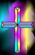 Illustration of a cross in colourful background