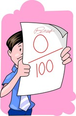 Illustration of boy seeing in the paper with zero marks