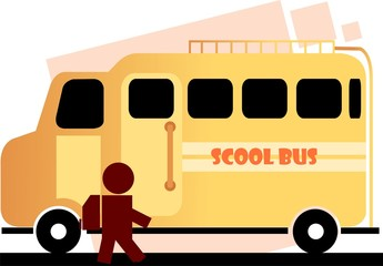 Illustration of school bus , boy and side the bus