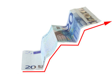growing business chart on 20 euro note