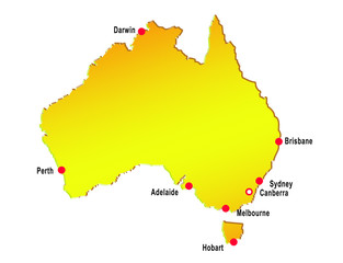 illustration on the map of australia with major cities
