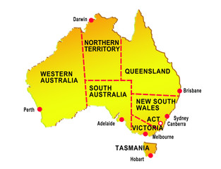 map of australia  showing eight states major cities
