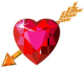 Red ruby heart struck by Cupid arrow