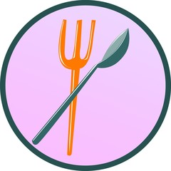 Illustration of a sign of fork and spoon in a circle