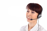 Female customer service representative smiling poster