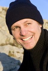 happy smiling male adventurer