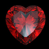 Red heart shaped garnet