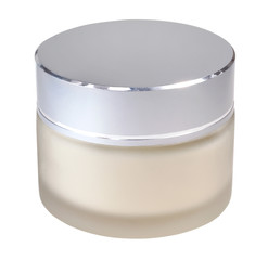 jar of cosmetic cream on white background
