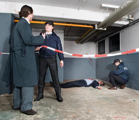 Police inspector arriving