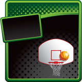 basketball goal and ball green and black halftone advertisement