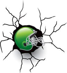 football helmet cracked wall