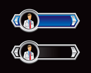medical doctor blue and black arrows