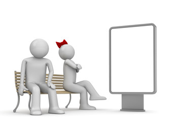 Offended man and woman on a bench with copyspace