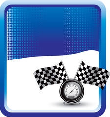 checkered flags and speedometer blue checkered banner