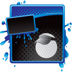 golf ball with visor blue and black halftone grungy template