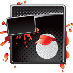 golf ball with visor black halftone grungy advertisement
