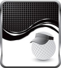 golf ball with visor black checkered wave backdrop