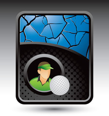 golfer and ball blue cracked background