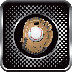 baseball in glove black halftone web button