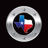 texas lonestar state silver star round frame poster