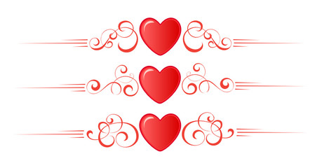Set of valentine border